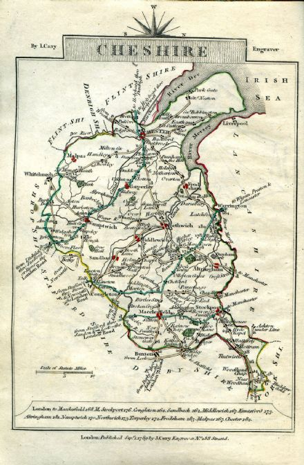Cheshire County Map by John Cary 1790 - Reproduction